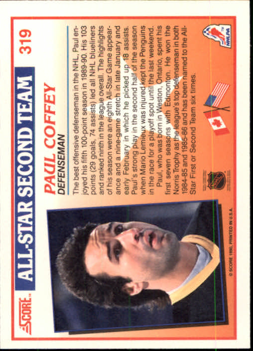 1990-91 Score #319 Paul Coffey AS2 back image