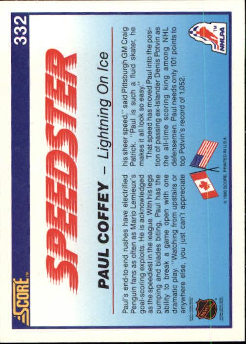 1990-91 Score #332 Paul Coffey Speed back image