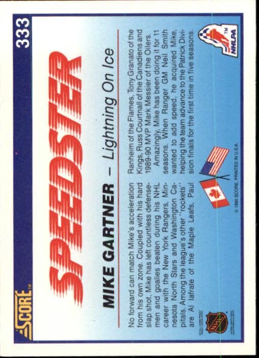 1990-91 Score #333 Mike Gartner Speed back image