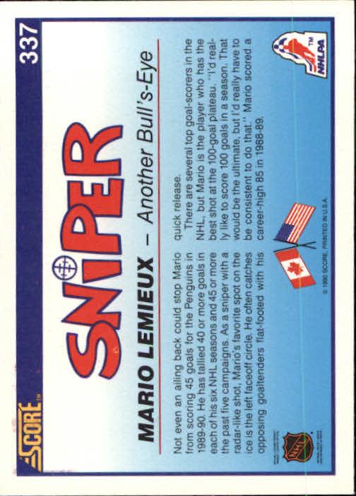 1990-91 Score #337 Mario Lemieux Sniper back image