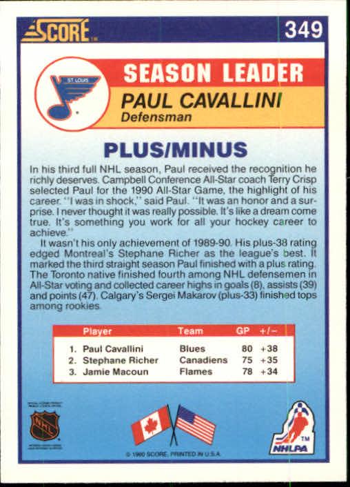 1990-91 Score #349 Paul Cavallini LL back image