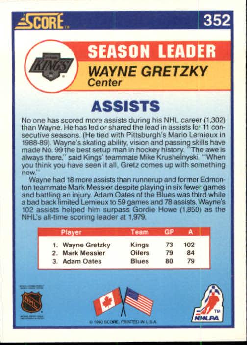 1990-91 Score #352 Wayne Gretzky LL back image