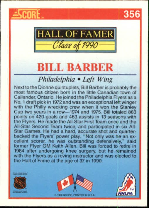1990-91 Score #356 Bill Barber HOF back image