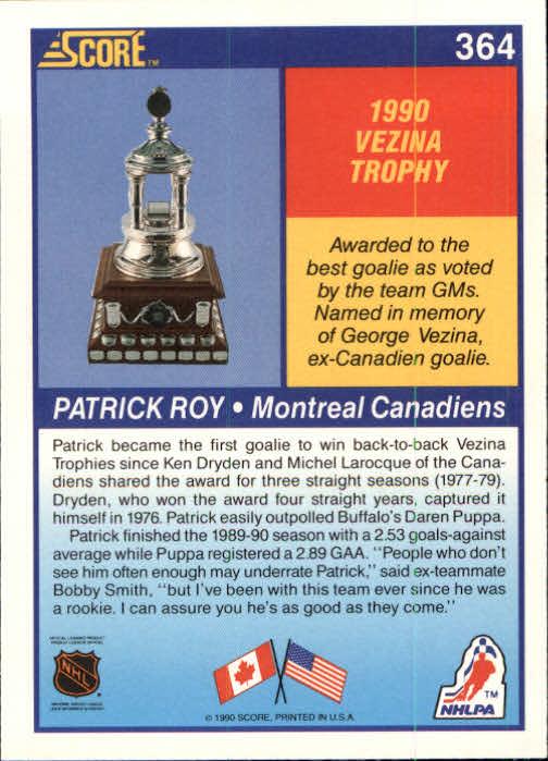 1990-91 Score #364 Patrick Roy Vezina back image