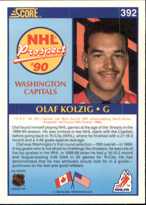 1990-91 Score #392 Olaf Kolzig RC UER#(photo actually Don Beaupre) back image