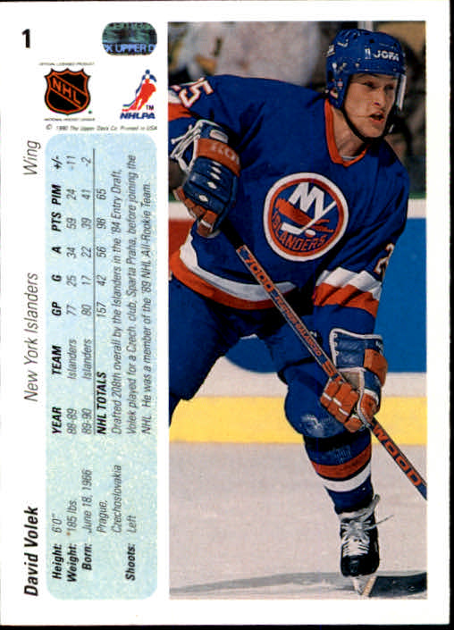 1990-91 Upper Deck #1 David Volek back image