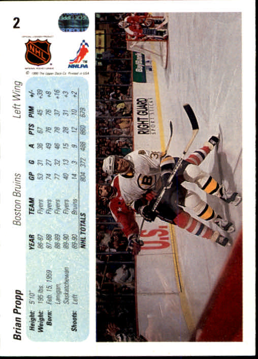 1990-91 Upper Deck #2 Brian Propp back image