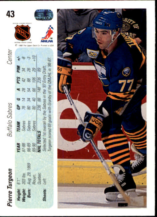1990-91 Upper Deck #43 Pierre Turgeon back image