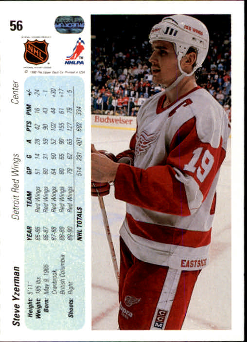 1990-91 Upper Deck #56 Steve Yzerman back image