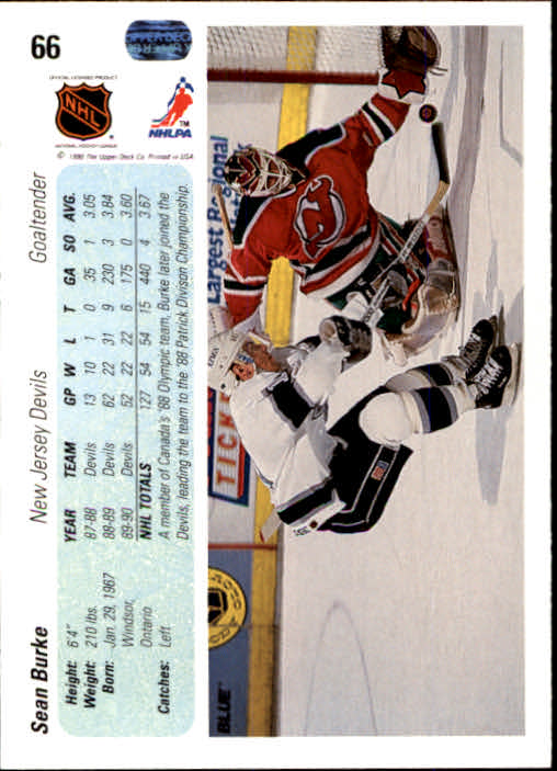 1990-91 Upper Deck #66 Sean Burke back image