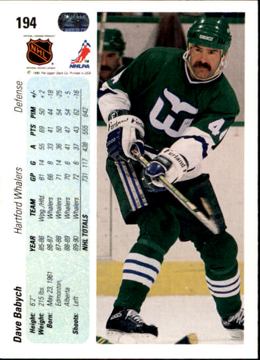 1990-91 Upper Deck #194 Dave Babych back image