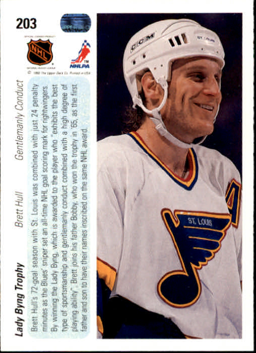 1990-91 Upper Deck #203 Lady Byng Trophy/Brett Hull back image