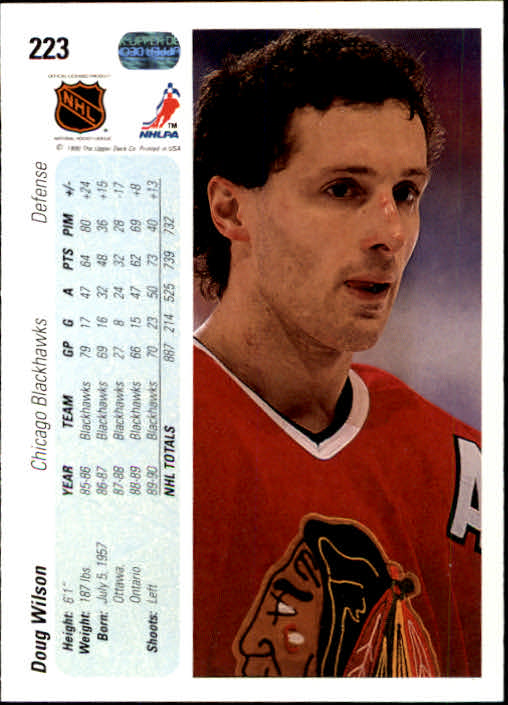 1990-91 Upper Deck #223 Doug Wilson back image