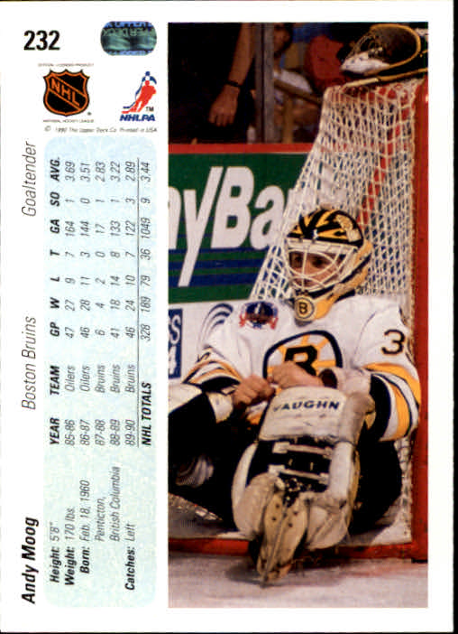 1990-91 Upper Deck #232 Andy Moog back image