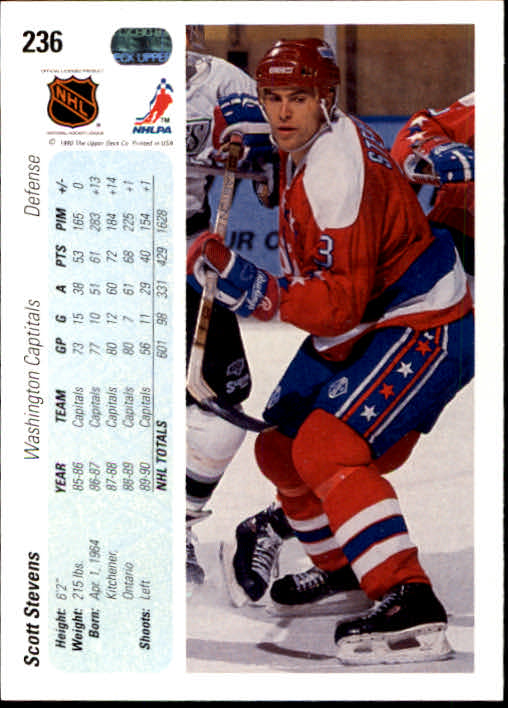 1990-91 Upper Deck #236 Scott Stevens back image