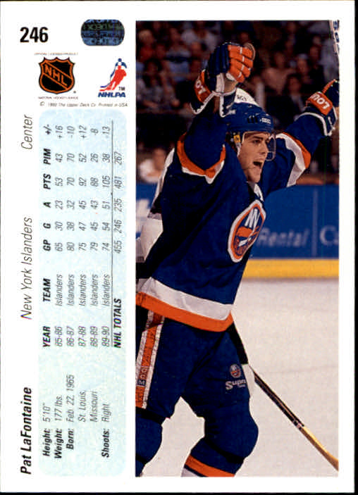 1990-91 Upper Deck #246 Pat LaFontaine back image