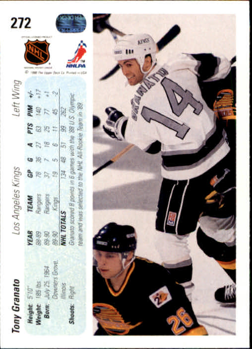 1990-91 Upper Deck #272 Tony Granato back image