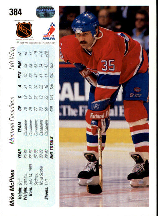 1990-91 Upper Deck #384 Mike McPhee back image