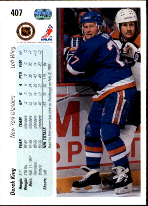 1990-91 Upper Deck #407 Derek King back image