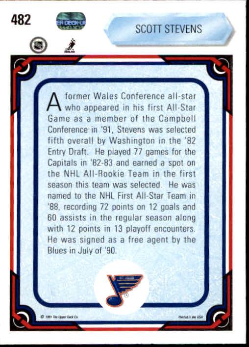 1990-91 Upper Deck #482 Scott Stevens AS back image