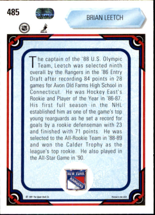 1990-91 Upper Deck #485 Brian Leetch AS back image