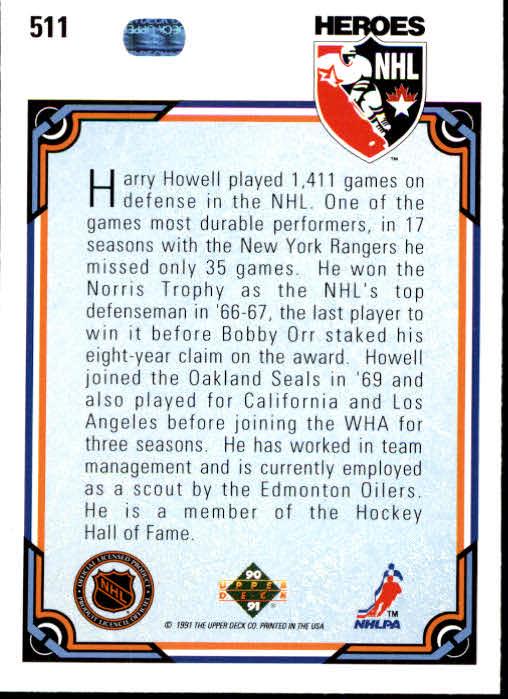 1990-91 Upper Deck #511 Harry Howell HERO back image
