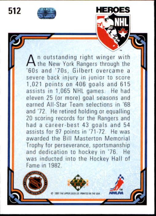 1990-91 Upper Deck #512 Rod Gilbert HERO back image