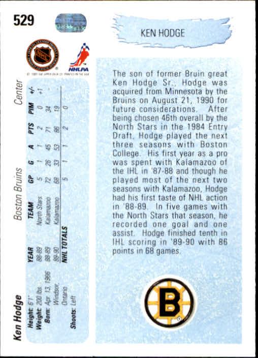 1990-91 Upper Deck #529 Ken Hodge Jr. YG RC back image