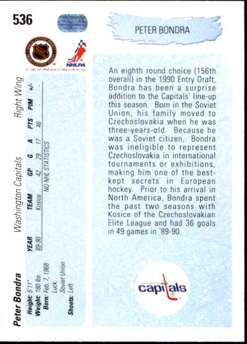 1990-91 Upper Deck #536 Peter Bondra YG RC back image