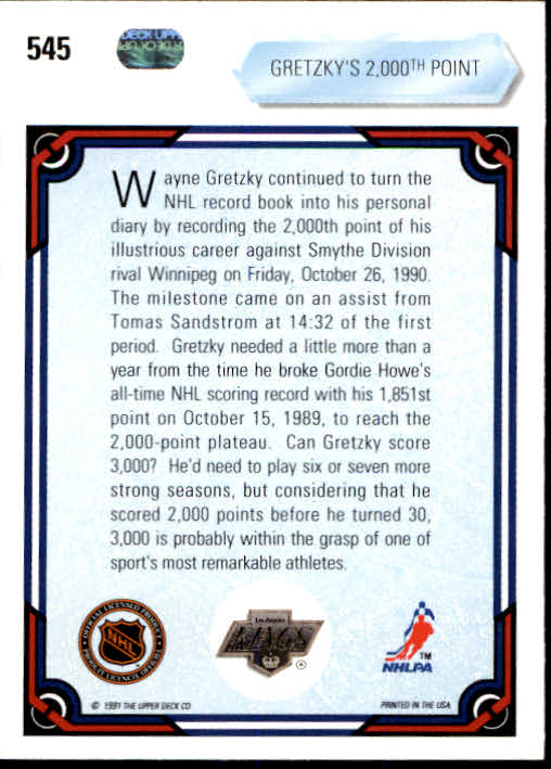 1990-91 Upper Deck #545 Wayne Gretzky/2000th point back image