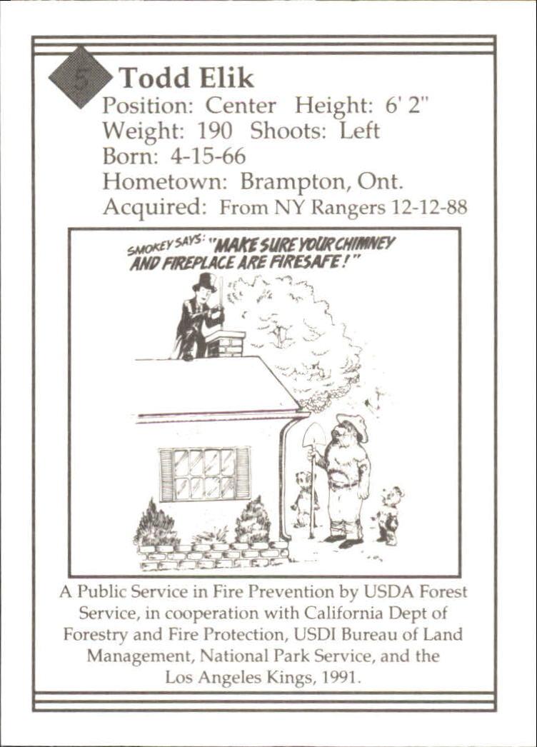 1990-91 Kings Smokey #5 Todd Elik back image
