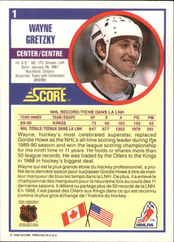 1990-91 Score Canadian #1 Wayne Gretzky back image