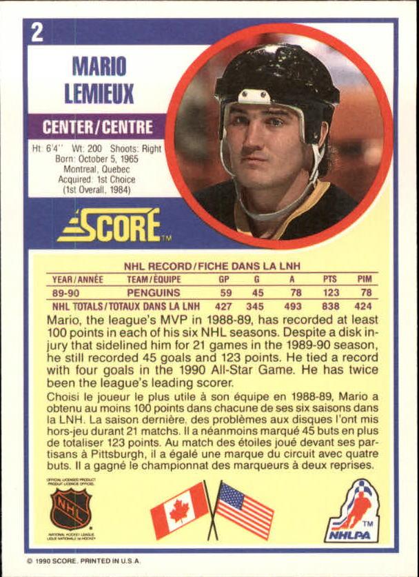 1990-91 Score Canadian #2 Mario Lemieux back image