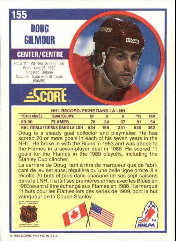 1990-91 Score Canadian #155 Doug Gilmour back image