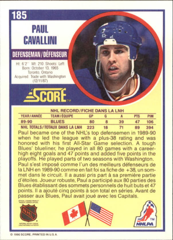 1990-91 Score Canadian #185 Paul Cavallini back image
