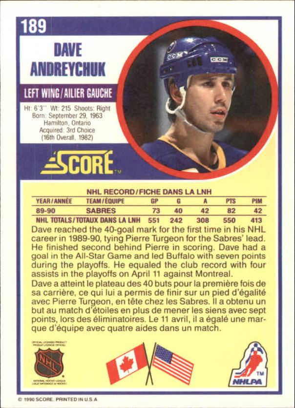 1990-91 Score Canadian #189 Dave Andreychuk back image