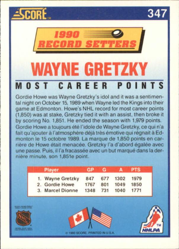 1990-91 Score Canadian #347 Wayne Gretzky RB back image