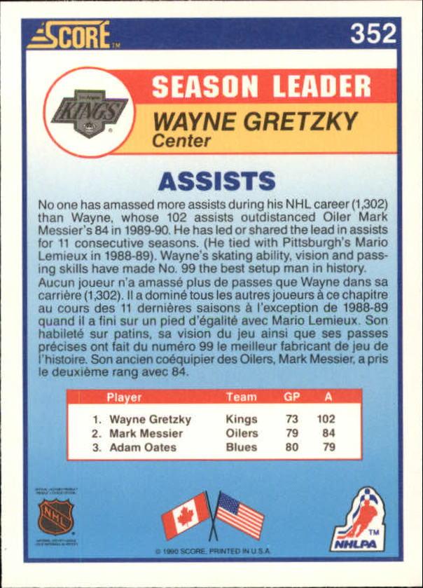 1990-91 Score Canadian #352 Wayne Gretzky LL back image