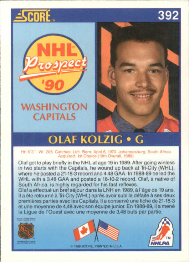 1990-91 Score Canadian #392 Olaf Kolzig RC UER#(photo actually Don Beaupre) back image