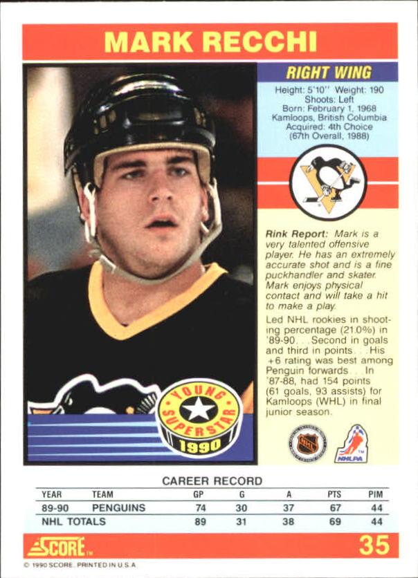 1990-91 Score Young Superstars #35 Mark Recchi back image