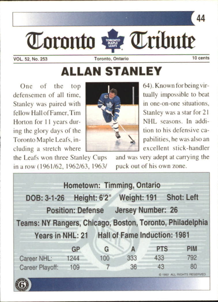 1991-92 Ultimate Original Six #44 Allan Stanley back image