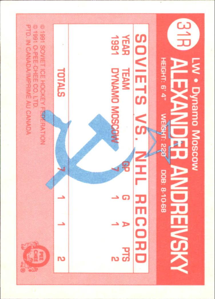 1991-92 O-Pee-Chee Inserts #31R Alexander Andreivsky back image
