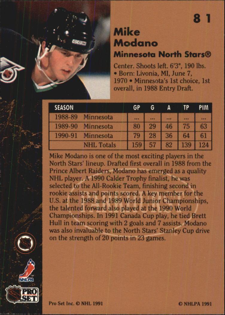 1991-92 Parkhurst #81 Mike Modano back image