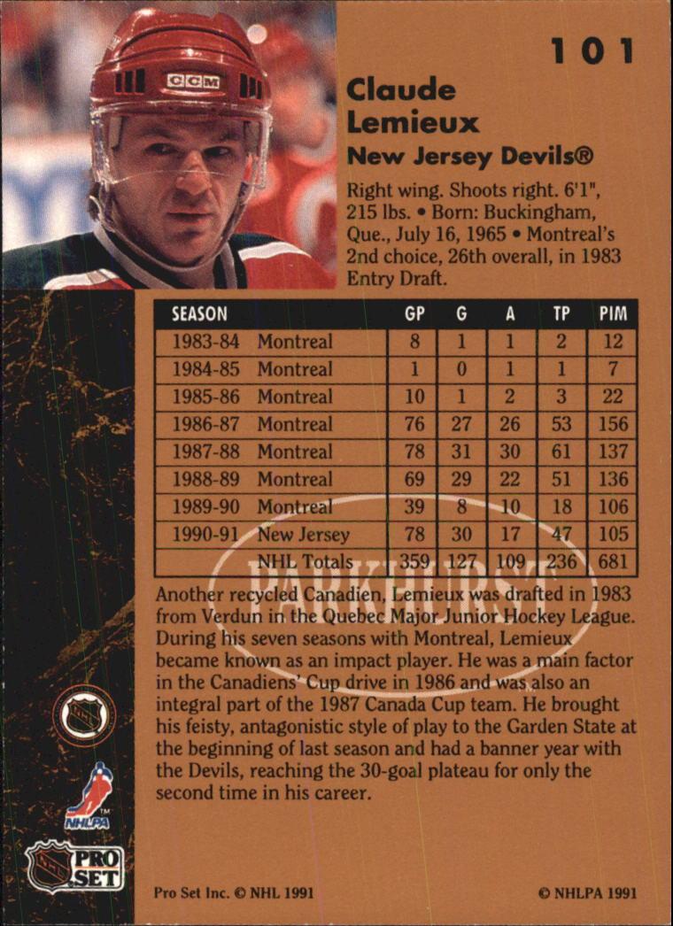 1991-92 Parkhurst #101 Claude Lemieux back image