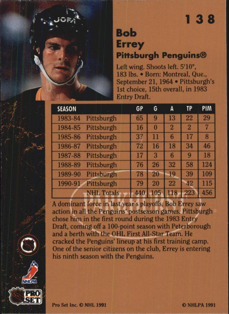 1991-92 Parkhurst #138 Bob Errey back image
