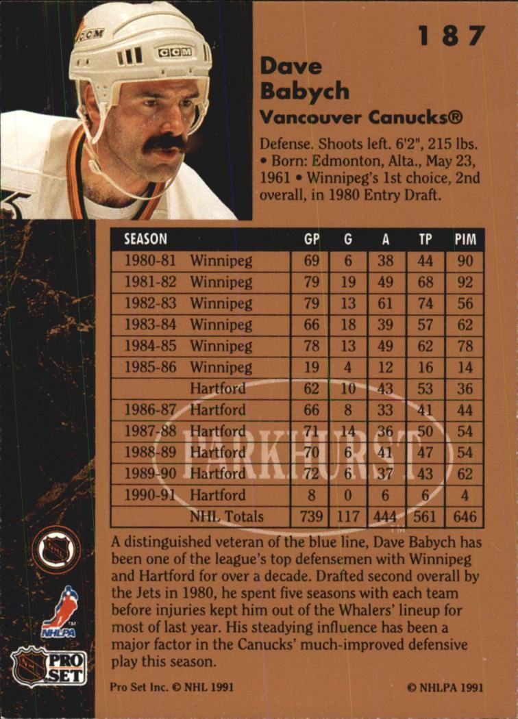 1991-92 Parkhurst #187 Dave Babych back image