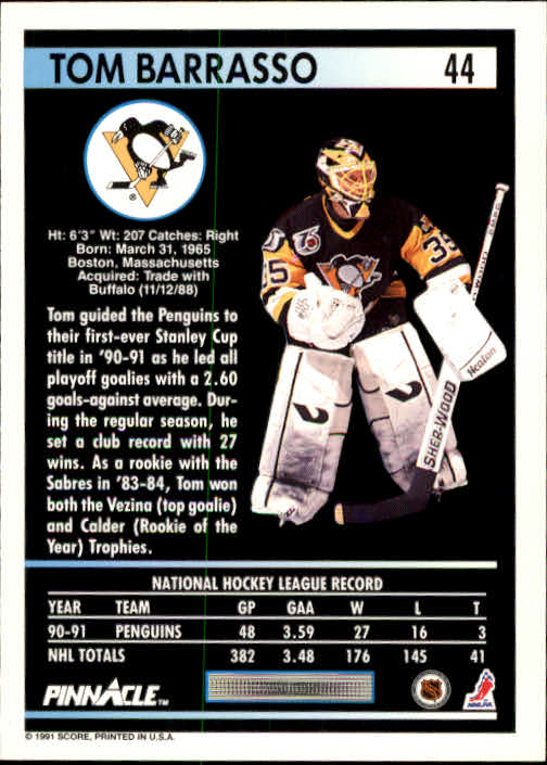1991-92 Pinnacle #44 Tom Barrasso back image