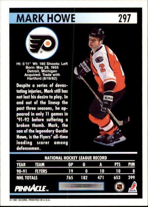 1991-92 Pinnacle #297 Mark Howe back image
