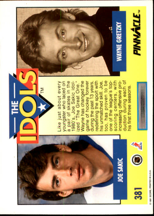 1991-92 Pinnacle #381 Joe Sakic IDOL/(Wayne Gretzky) back image