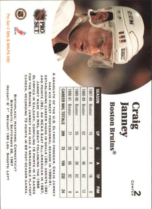 1991-92 Pro Set #2 Craig Janney back image